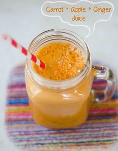Carrot, Apple & Ginger Juice | So... Let's Hang Out    4 carrots  3 small Pink Lady apples, chopped  1 Meyer lemon, peeled  1 English cucumber, peeled  1 head of Romaine lettuce  1 inch piece of ginger root
