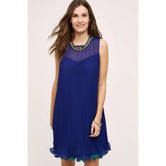 Maeve Layered Pleat Swing Dress ($178) ❤ liked on Polyvore featuring dresses, pink, tent dress, chiffon trapeze dress, double layer dress, maeve dresses and trapeze dress