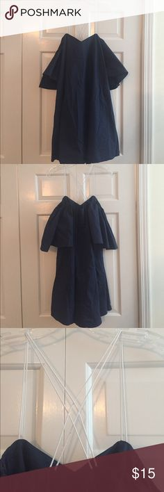 Nautical off the shoulder dress NWOT. Navy blue off the shoulder dress with white thin criss straps that cross cross in the back. Size medium but very flowy could fit large as well lumiere Dresses