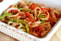 Tis' the season of healthy meals, and attempts at weight loss. I have a few pounds to lose myself, so I'm wanting easy and waist-friendly recipes. These Oven Baked Chicken Fajitas sounded right up my alley. There's not much work to them. Just some slicing of veggies and chicken and then pop it in the oven and let it …