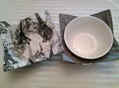 Microwave Bowl Cozy Paris Black Gray Multi Pot Holder Hot Pad Kitchen Linens…