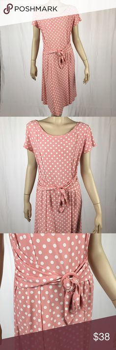 🎉Sale🎉 Vintage Polka Dot Pink & White Dress Vintage Polka Dot Pink & White Dress with drop waist and cinched belt waist. Pleated bottom. Brand is Chelsea Suite. Perfect condition. Size 12. 96% polyester and 4% spandex. Stretchy material. 30 inch waist, 37 inch bust, 39.5 inches long ❗️❗️PRICE FIRM❗️❗️ Dresses Midi