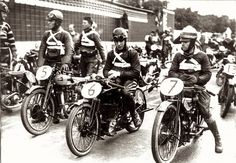Lining up at the start of the 1927 Isle of Man TT; from left, Tommy Span (Sunbeam), Wilmot Evans (Triumph), LH Davenport (AJS), and RF Parkinson (Douglas)