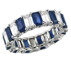 Wedding Band - Emerald Cut Diamond & Sapphire Eternity Ring in White Gold Sapphire Eternity Ring, Sapphire Band, Sapphire Wedding, Sapphire Jewelry, Eternity Bands, Diamond Jewelry, Green Sapphire, Sapphire Pendant, Solitaire Ring