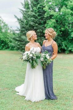 Wedding Photography- Simply Sarah Photography- Bride and Maid of Honor Pictures- Gray Sequin Bridesmaid Dress