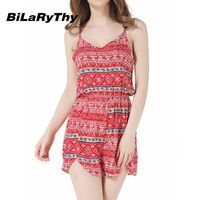 BiLaRyThy Summer Bohemian Style Women's Casual Short Jumpsuits Rompers Spaghetti Straps Printing Playsuits Overalls