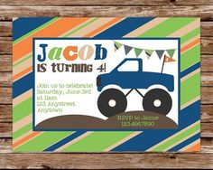 Custom Printable Monster Truck Birthday by thepaperblossomshop, $10.00