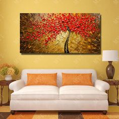 Modern Art Of 100% Handmade Pictures  Paintings To Decorate The Wall  Abstract Oil Painting Canvas Red Flower No Frame