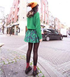 Bardot beanie,Topshop green jumper, Zara silk shirt,ASOS green skirt, Primark black tights/socks,Park Lane black buckle boots(image:kisforkani)