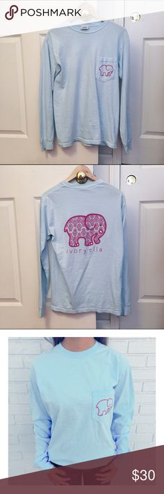 Ivory Ella Sky Blue Hamsa Shirt Brand is Ivory Ella but listed as Vineyard Vines. EUC. Normal signs of wear. Vineyard Vines Tops Tees - Long Sleeve