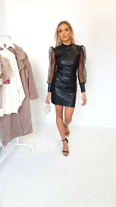 Nelly Faux Leather Mini Dress - Zigmunds Dalderis Source by - Sexy Outfits, Sexy Dresses, Fashion Outfits, Womens Fashion, Black Leather Mini Skirt, Black Leather Dresses, Leather And Lace, Leather Skirt, Leder Outfits