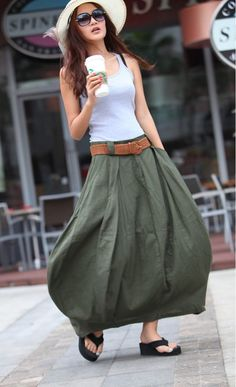 Romantic Army Green Pretty Linen Bud Long Maxi Skirt - via Etsy Long Skirt Outfits, Long Maxi Skirts, Maxi Dresses, Mode Outfits, Casual Outfits, Boho Fashion, Fashion Outfits, Fashion Trends, Green Fashion