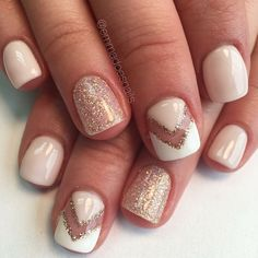 Negative space nails, nude mani, nude pink nails, glitter nails, nail art, gel…