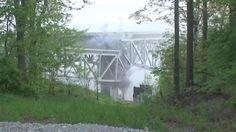 Construction crews demolished part of the old Jeremiah Morrow Bridge Sunday morning.