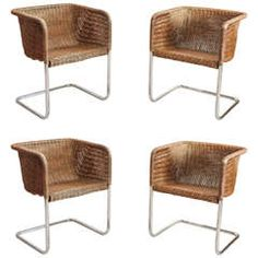 Harvey Probber Wicker and Chrome Dining Chairs Wicker Dining Chairs c6c127c636