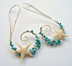 Starfish Hoop Earrings Real Starfish Beach by BellaAnelaJewelry