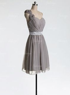 gray bridesmaid dress short bridesmaid dress chiffon by fitdesign