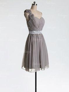 gray bridesmaid dress short bridesmaid dress chiffon by fitdesign