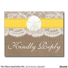 The Yellow Sand Dollar Wedding Collection RSVP Postcard