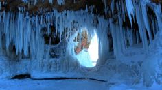 Apostle Islands in the winter. Wisconsin is truly blessed to have these caves here and everyone should try to see them at least once in their life. You'll never be the same after basking in the majesty of the frozen sea caves. Island Beach, River Island, Lake Michigan, Wisconsin, Sea Cave, Great Lakes Region, Weather News, Weather Underground, Alien Worlds