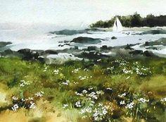 """Morning Haze of Hanes Island"" Watercolor by Philip Jamison"