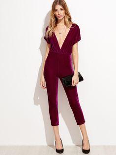 a93c7170d60 Deep V Neck Zipper Back Velvet Jumpsuit EmmaCloth-Women Fast Fashion Online