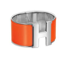 "Clic H Extra-Large Hermes extra wide bracelet Orange enamel<br />Palladium plated hardware, 2.25"" diameter, 7.5"" circumference, 2"" wide<br />"