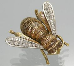 Vintage Gold Bee Brooch with Diamonds by busaccagallery, via Flickr