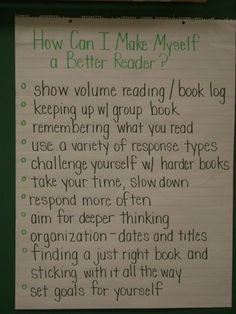 How Can I Become a Better Reader? anchor chart