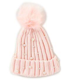 418f83e94ae Copper Key Girls Faux Fur Pom Ribbed Pearl-Embellished Beanie