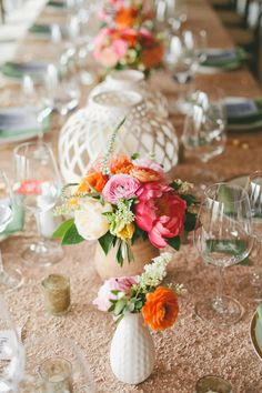 A glam desert wedding with bold colors and modern sparkle in Palm Springs with coral peonies, champagne sequins, and garland details! Daisy Centerpieces, Flower Table Decorations, Peonies Centerpiece, Spring Wedding Decorations, Centrepieces, Floral Wedding, Wedding Colors, Coral Peonies, Spring Wedding Inspiration