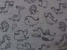 Dinosaurs / Dragons Cotton Blend Jersey Fabric For Children's Clothes, Nursery, Craft