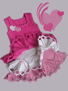 Valentine dress for little girls, crochet pattern: