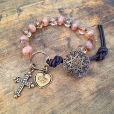 Sacred Bronze Cross Knotted Leather Wrap by TwoSilverSisters, $36.00