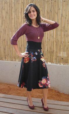 Three Qauter Sleeve Dark Purple Modest Dress by Leelach, $58.00.  I love it!!  And the hair!