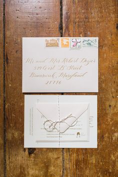 Blush and gold wedding invitation with vintage stamps  Stationery: Shannon Joy Paperie Calligraphy: Sincerely Amy Designs