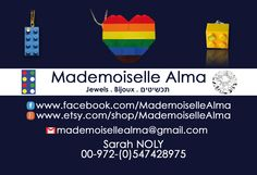 Business Card of Mademoiselle Alma - Designer of Jewelry made from LEGO® bricks, SWAROVSKI crystals and of course, a great amount of imagination. *** www.facebook.com/... Hope you LIKE my Facebook page-shop ♥ www.etsy.com/... #MademoiselleAlma #LEGO #ETSY
