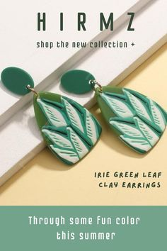 Our cute spring green leaf clay earrings, mix with creative natural green colors finishing in a pretty leaf shape. #clayearrings #polymerclayearrings #cuteearrings #prettyearrings #cuteearringsstuds Cute Polymer Clay, Cute Clay, Polymer Clay Earrings, Cute Earrings, Beaded Earrings, Earrings Handmade, Spiritual Jewelry, Hippie Jewelry, Spring Green