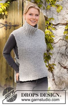 Avalon Tunic / DROPS 217-35 - Gratis strikkeopskrifter fra DROPS Design Knit Shrug, Poncho, Knit Vest, Cable Cardigan, Knitting Patterns Free, Free Knitting, Baby Knitting, Crochet Patterns, Drops Design