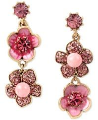 Betsey Johnson Gold-Tone Glittery Flower Mismatch Drop Earrings