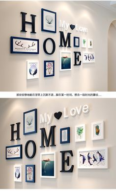 Stylish Wall Decoration Ideas With Photo Frames And Letters