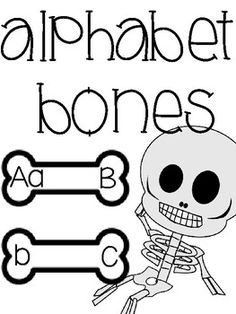 """This abc order reading center is perfect for Halloween. This would be a great book extension for """"'Dem Bones"""", a skeleton theme, or just a fun holiday center. Students connect the bones to match the upper and lowercase letter, putting the alphabet in order"""