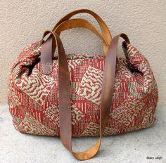 Carpetbag Civil War Era Handwoven Textile Tote Bag by Stacy Leigh