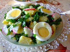 SALATA CALDA DE CARTOFI CU OUA DE PASTI SI LEURDA Raw Vegan, Easter Crafts, Cobb Salad, Potato Salad, Avocado, Potatoes, Eggs, Breakfast, Ethnic Recipes