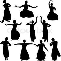 Silhouettes of woman performing bharatanatyam