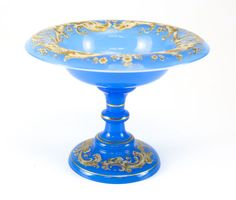 c1860 Hand Painted Blue Opaline Glass Compote White & Gilt Enamel, Squid Motif