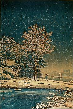 elpasha71:  Suijin woods in the snow along the Sumida River, Tokyo by Tsuchiya Koitsu