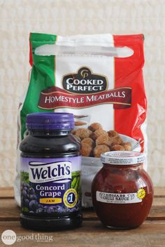 Sweet & Tangy Crockpot Meatballs      12 oz jar chili sauce     16-18 oz jar grape jelly     2 lb. package frozen meatballs  Add all ingredients to a crockpot and mix. Cook for 2-5 hours on low.  3-Ingredient Crockpot Meatballs