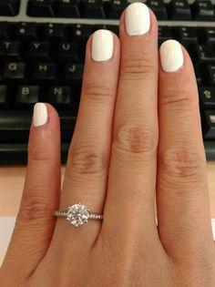 1 carat round diamond - thin diamond band - 6 prong - 5-5.5 ring size