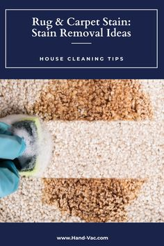 Stained rugs? See these stain removal ideas - ideas for common rug stains will help you clean away stains. House Cleaning Tips, Cleaning Hacks, Stain Remover Carpet, Removing Carpet, Carpet Stains, Clean House, Rugs On Carpet, Red Wine, Ideas